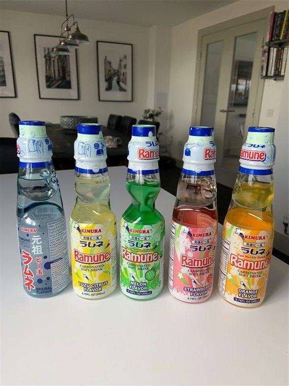 5 bottles of ramune soda