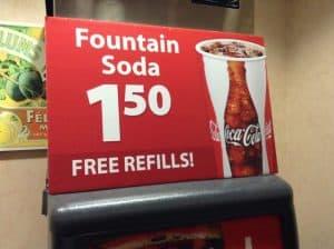 soda fountain free refills