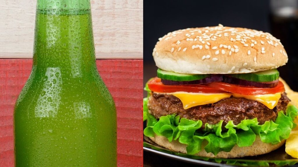 What is a Slaw Burger, Fries and a Bottle of Ski